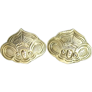 Antique Chinese Gold Vermeil Bat Clip Earrings