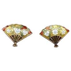 Vintage Chinese Gold Enameled Fan Button Earrings for Pierced Ears