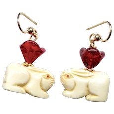 Carved Bone Rabbits, Red Glass Tulip Drop Earrings