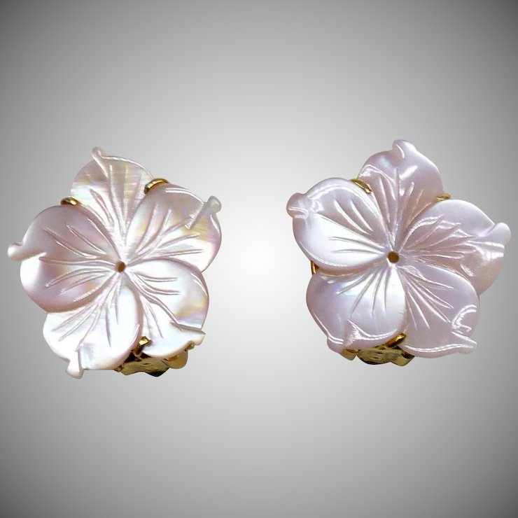 Pink Mother Of Pearl Flower On Earrings