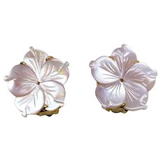 Pink Mother Of Pearl Flower Button Earrings