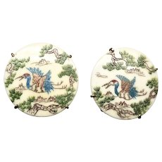 Etched Bone Stork Button Earrings