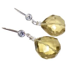 Faceted Heart Shaped Citrine Drops with CZ and Sterling Silver Ear Wire