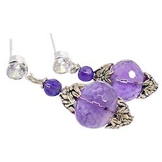 Faceted Purple Amethyst, CZ and Sterling Silver Drop Earrings