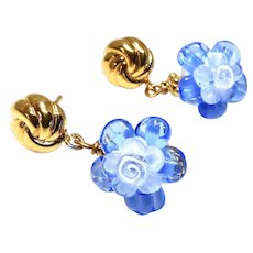 Blue Glass Lamp Work Flower Drop Earrings