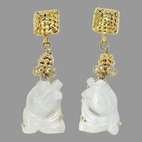 Carved Natural Translucent White Jade Fish Drop Earrings