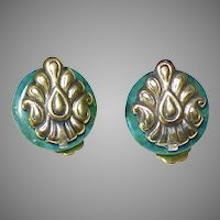 Chrysocolla and Brass Button Earrings