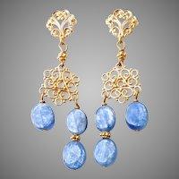 Iridescent Blue Kyanite Drop Chandelier Earrings