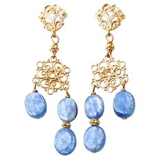 Iridescent Blue Kyanite Drop Chandelier Earrings