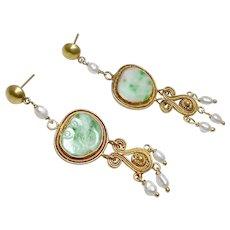 Vintage Carved Chinese Apple Green Jadeite and Pearl, 18k Gold Vermeil Filigree Drop Earrings