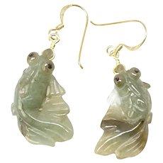 Hand Carved Natural Green Jade Fish Drop Earrings