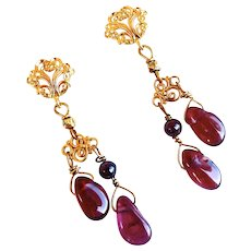 Red garnet Nugget Drop Earrings