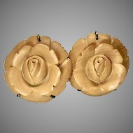 Carved Wood Roses Button Earrings