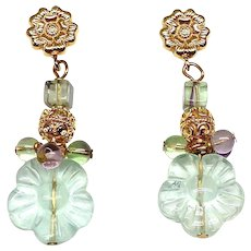 Green Fluorite Flower Drop Earrings