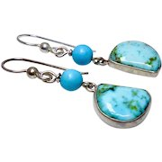 Turquoise and Sterling Silver Drop Earrings