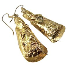 Antique Chinese 18k Gold Vermeil Finger Puppets Drop Earrings