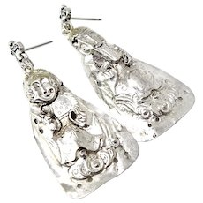 Antique Chinese Silver Finger Puppet Drop Earrings