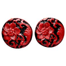 Red Cinnabar Flower Button Earrings