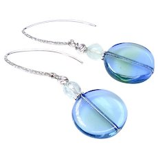 Blue and Green Vintage German Glass Drop Earrings