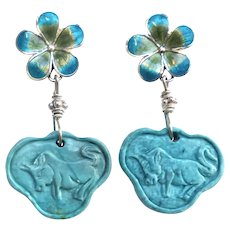Chinese Turquoise Lock Drop Earrings