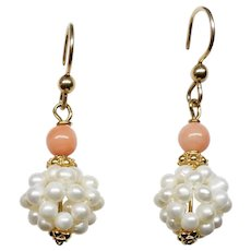 Seed Pearl and Pink Coral Drop Earrings