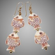 Hand Carved Bone Fish Drop Earrings