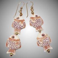 Hand Carved Bone Fish Drop Earrings