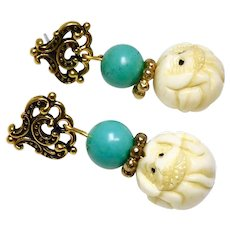 Carved Bone Dog with Turquoise Drop Earrings