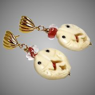 Carved Bone Double Fish Drop Earrings