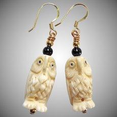 Hand Carved Bone Owls Drop Earrings