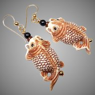 Carved Bone Asian Fish Drop Earrings