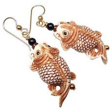 Carved Bone Asian Fish Drop Earrings