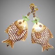 Carved Bone Fish with Green Fluorite Drop Earrings