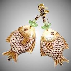 Carved Bone Fish with Green Fluorite Drop Earrings