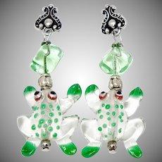 Green Glass Lamp Work Frog Drop Earrings