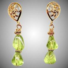 Gem Quality Green Peridot Drop Earrings