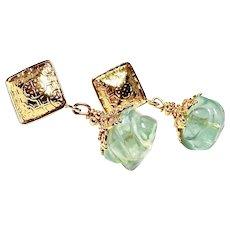 Green Fluorite Melon Drop Earrings