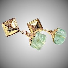 Green Fluorite Melon Drop Earrings