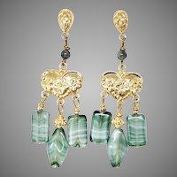 Vintage Green German Glass Drop Chandelier Earrings