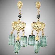 Vintage Green German Glass Drop Chandelier Earrings