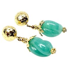 Antique Green Glass Drop Earrings