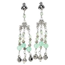 Green Chrysoprase and Silver Chandelier Drop Earrings