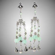 Green Chrysoprase and Silver Chandelier Drop Earrings