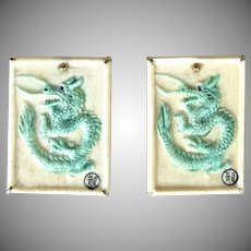 Hand Carved Green Bone Dragon Button Earrings