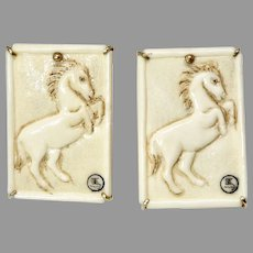 Hand Carved Bone Horses Button Earrings
