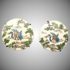 Hand Etched Bone Storks Button Earrings