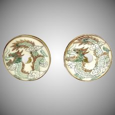 Hand Etched Bone Dragon Button Earrings