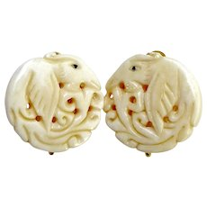 Hand Carved Bone Phoenix Button Earrings