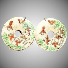 Large Hand Etched Bone Birds and Bamboo Button Earrings