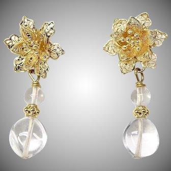 Crystal, 18k Gold Flower Post Drop Earrings